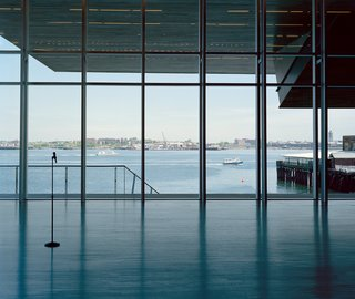 The windows of the ICA's theater offer an expansive view of the harbor and the cantilevered galleries above.