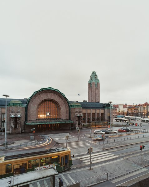 The Helsinki Central railway station was designed by Eliel Saarinen in 1909, and still serves as the city's center of public transportation.