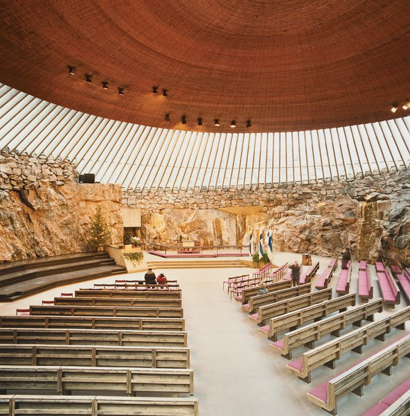 The 1969 Temppeliaukion Kirkko, or Rock Church as it is known, is one of the most popular places to visit in Helsinki. The dramatic interior space was created from a solid granite outcropping, and is often used as a concert hall because of its superior acoustics.