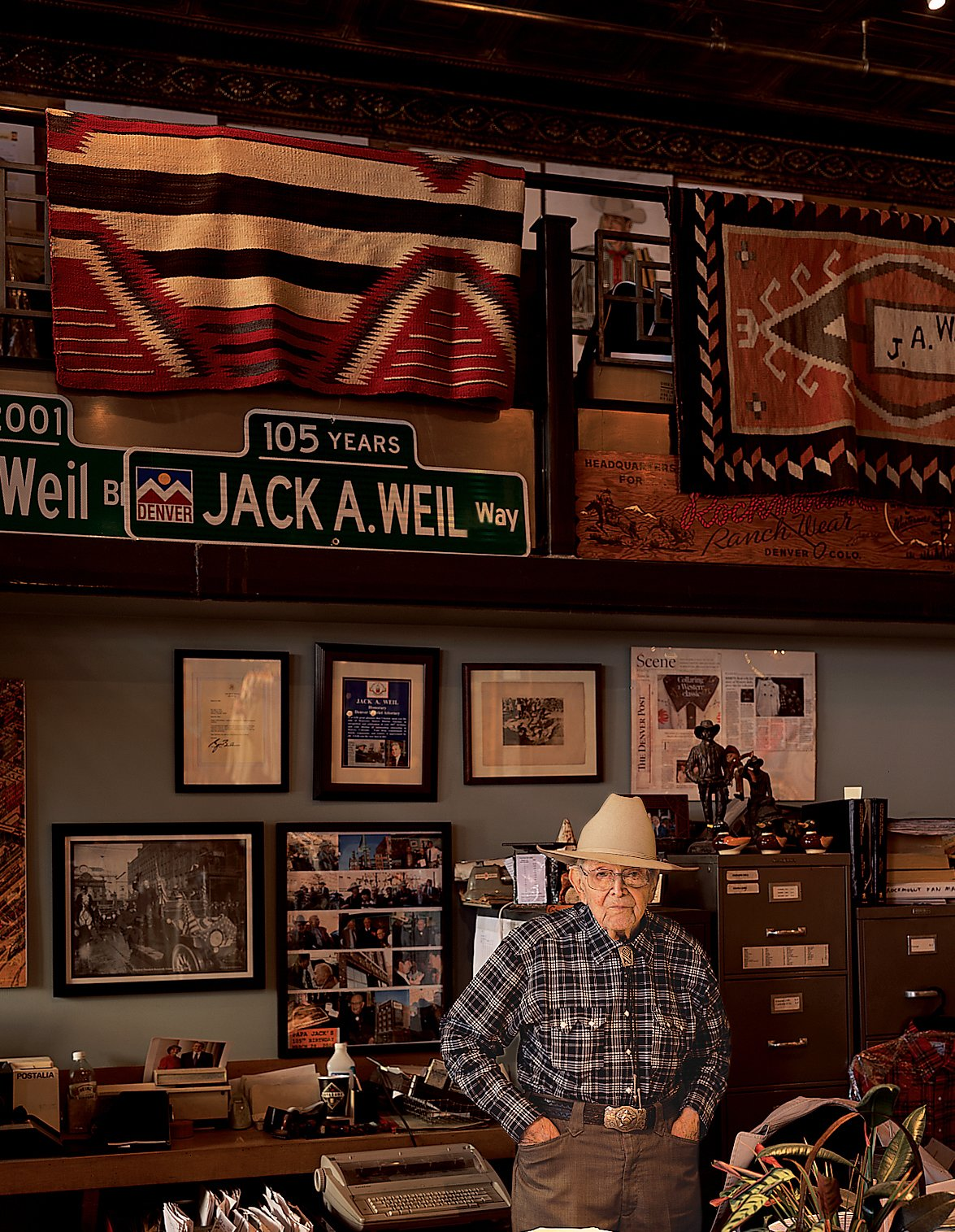 Jack A. Weil, who, at 105 years old, has manned the counter at Rockmount Ranch Wear since opening the business in 1946.  Photo 3 of 11 in High Design in Denver