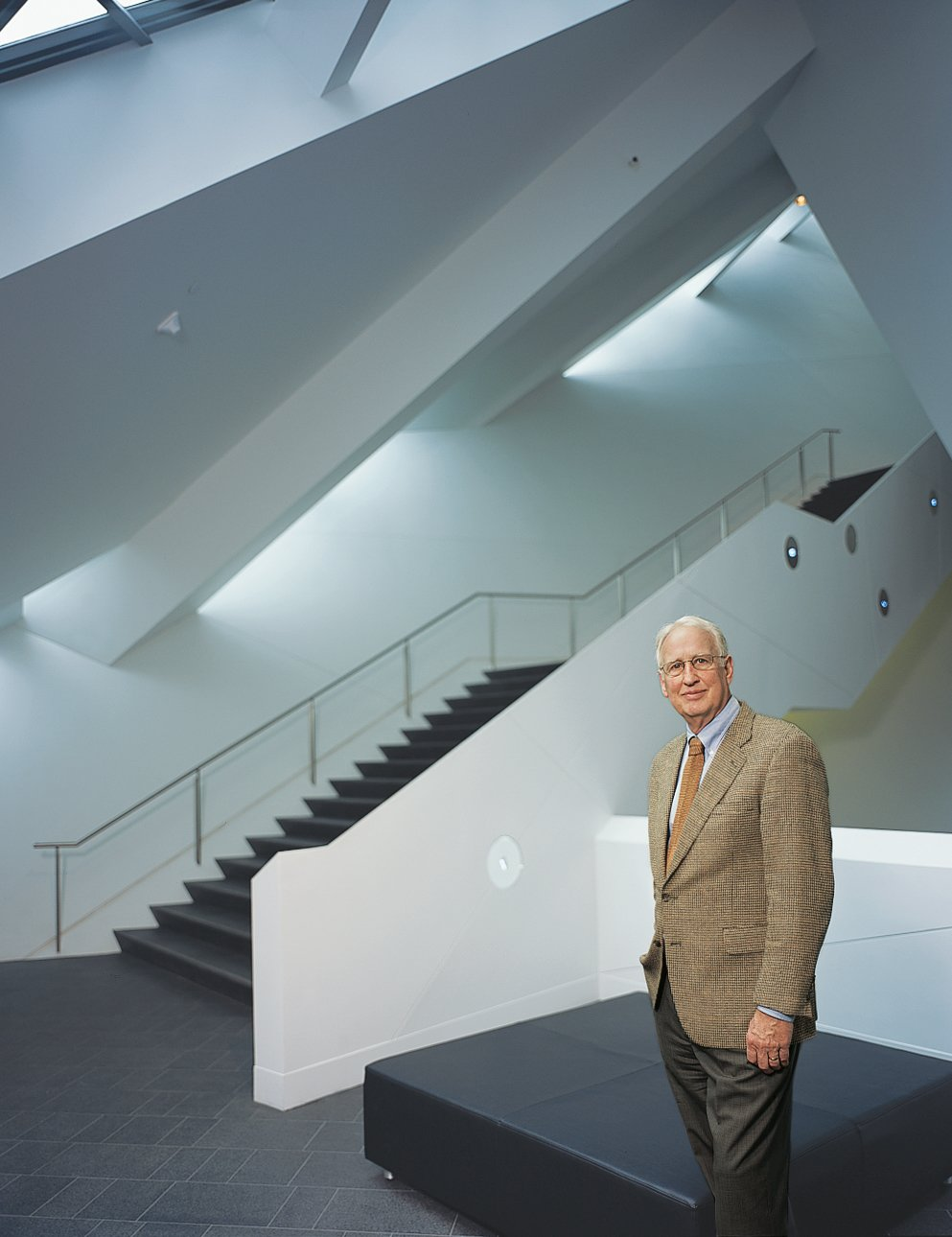 Denver Art Museum director Lewis Sharp takes in the interior of the new Libeskind-  designed building. It's not just visitors who like the design—artists like Betty Woodman   and Tatsuo Miyajima enjoyed installing their work in the new structure as well.  Photo 4 of 11 in High Design in Denver