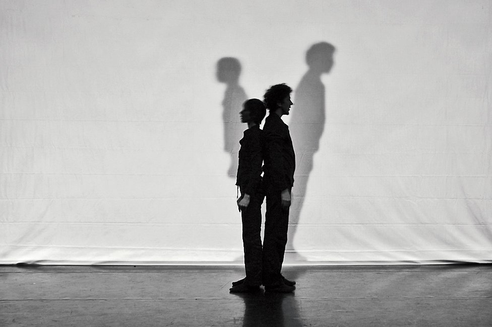 Bil'ak conceived of the dance performance Due a due, in which what appears   to be a dancer's shadow is in fact a projection of another dancer.  Photo 17 of 18 in Typographer Focus: Peter Biľak