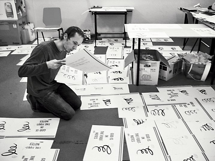 In Bil'ak's studio, he and his staff assemble and hand-draw the cover for issue #7.  Photo 18 of 18 in Typographer Focus: Peter Biľak
