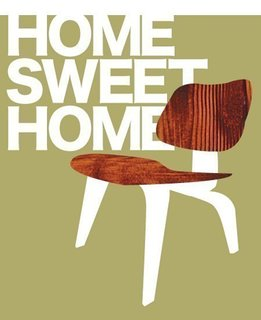 """JennskiNew Hampshire-based artists Jenn Ski primarily draws amusing images of animals and patterned note cards but aptly named her picture of an Eames plywood lounger """"Home Sweet Home."""""""