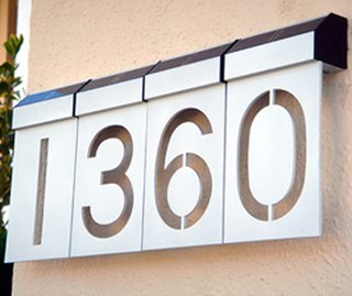 """LED Solar Numbers   By Matterinc  $20 each, 6.375"""" H x 3.5"""" W, silver or black anodized aluminum"""