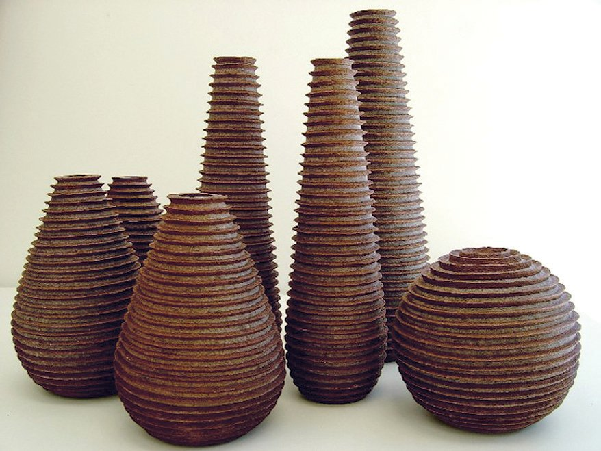 Kraft paper-and-banana-fiber-woven vases by designer Domingos Totora, for the Objects + Stools collection.  Photo 1 of 8 in On a Smartpath