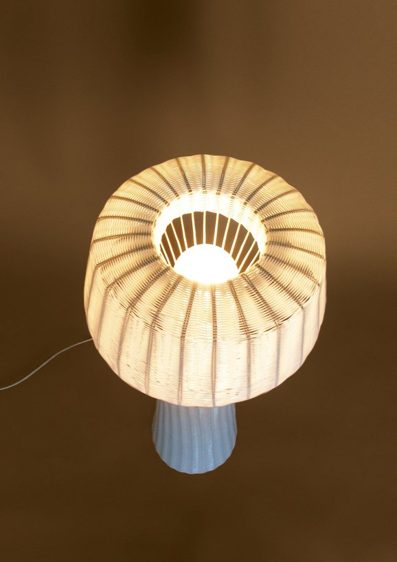 A woven-plastic lamp, from the La Feliz series by Federico Churba and Patricio Lix Klett.  Photo 6 of 8 in On a Smartpath