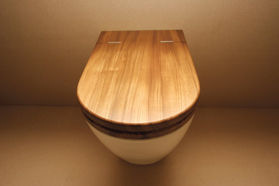 Bath Room and One Piece Toilet Toilet seat in teak by William Garvey.  Bathrooms: Wood by Virginia Gardiner