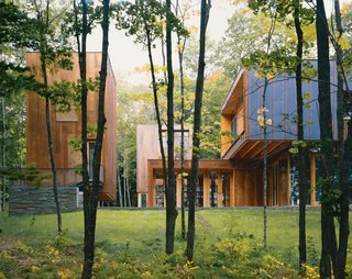 The ever-changing, lush wooded surroundings of Minnesota, such as those experienced at this 8,000-square-foot Type Variant House outside of Minneapolis designed by Coen and Partners, are right near the small town of New Richland.