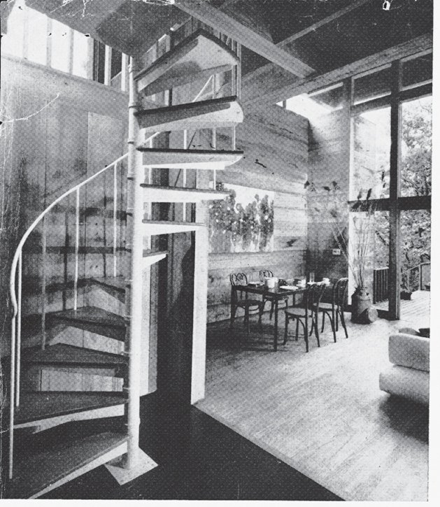 A shot of the former spiral staircase.  Photo 10 of 17 in Long Island Summer Home Gets a Modern Addition