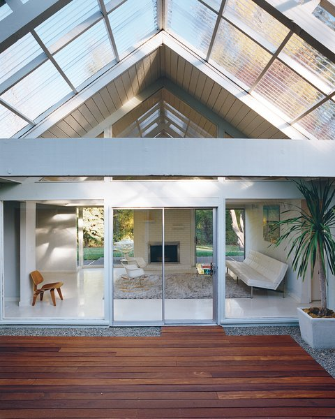 The literal and figurative centerpiece of the house is the atrium, through which light filters into the rest of the house year-round.