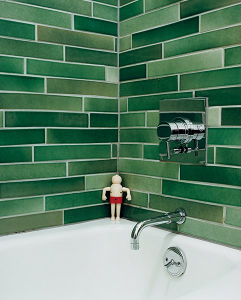 The Heath tiles in the bathroom were hand-selected from boxes of factory seconds.