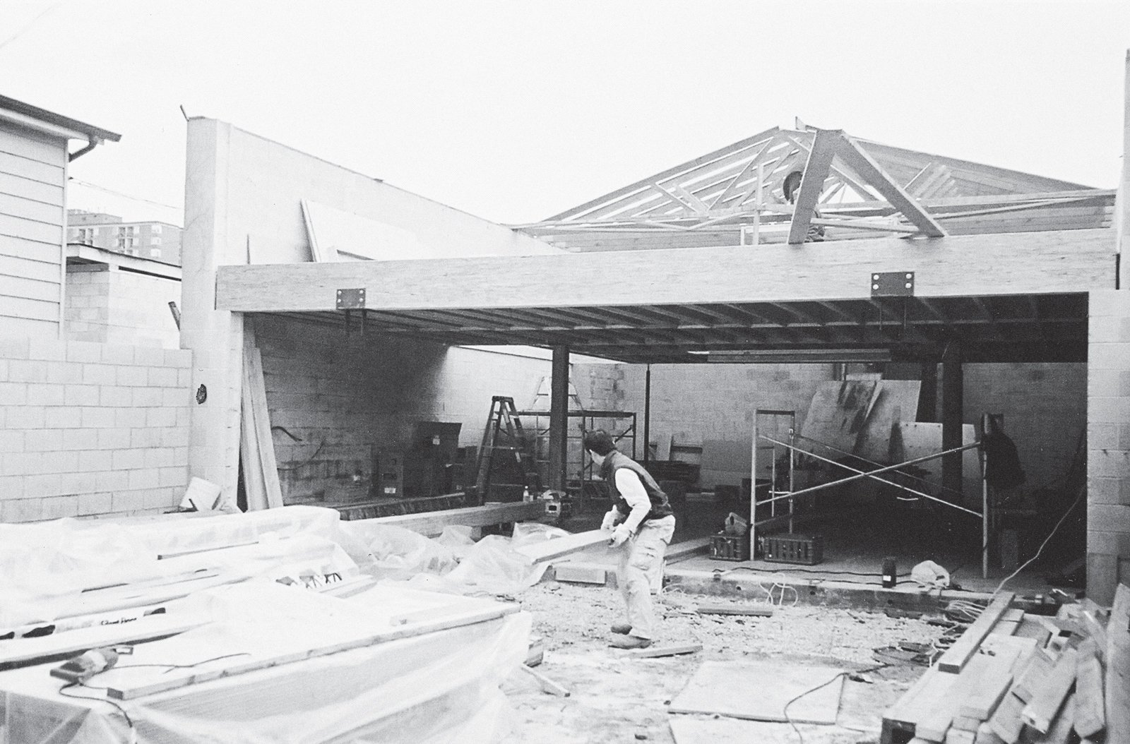 A 2002 photograph of the courtyard in progress.  Photo 2 of 17 in Inside Job