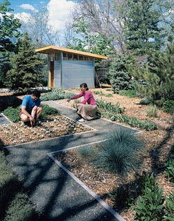 """LeMae and Vigil extended their environmentalist leanings outdoors. """"In landscaping, we thought a lot about low-water and native plants,"""" LeMae explains. """"The lawn we selected needs 50 percent less water than a normal Kentucky bluegrass lawn."""""""