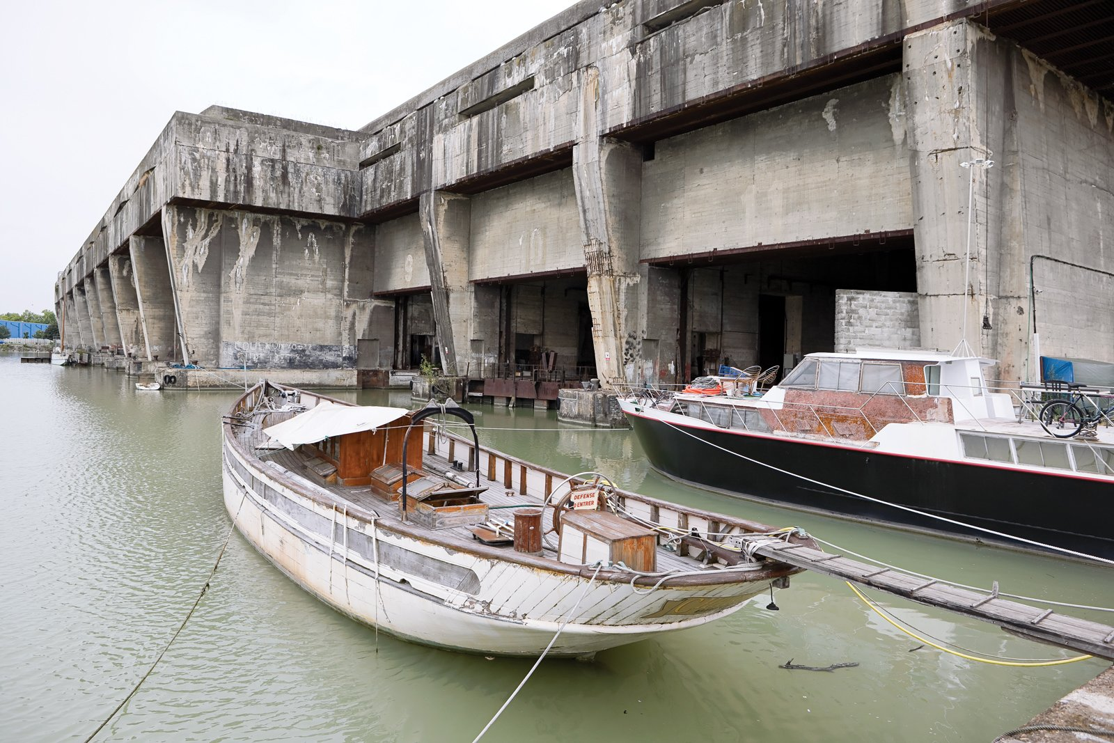 The massive concrete Base Sous-Marine was built during World War II to house German submarines but has become a popular and singularly dramatic venue for exhibitions and performances.  Photo 8 of 9 in Bordeaux, France