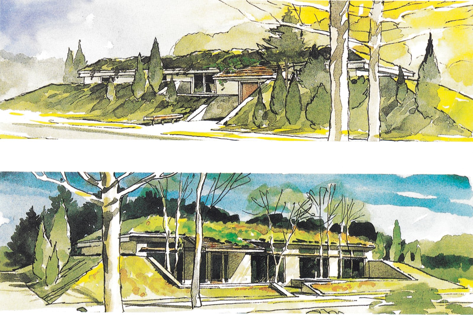 Wells' exterior designs for two houses with the same floor plan were published by Popular Science in 1989.  Photo 1 of 3 in Notes from the Underground