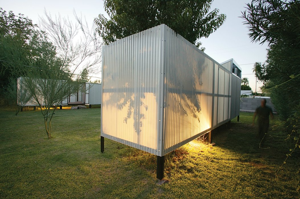 It's a fact of physics that hot air rises, and this simple concept is all Maria and Matthew Salenger needed to design a passive cooling system for the backyard pods they use as bedrooms at their house in Tempe, where the average daily temperature is 86 degrees. The light, steel-framed structures float on stilts above the yard, allowing cooler air to circulate underneath. On hotter days when this isn't enough, operable windows along the roof line and vents in the floors allow hot air to escape out the top and draw the same cooler air up from the lawn. By relying on this energy-efficient system during all but the hottest months (when   they run a small air-conditioning unit only in the evenings when they're home), the   couple, who work together as the architecture firm coLAB, has chopped their monthly power bills in half—no small feat in a climate where summertime temperatures can top 115 degrees.  The Sky is the Limit by Ivane Soyombo from Pod Living