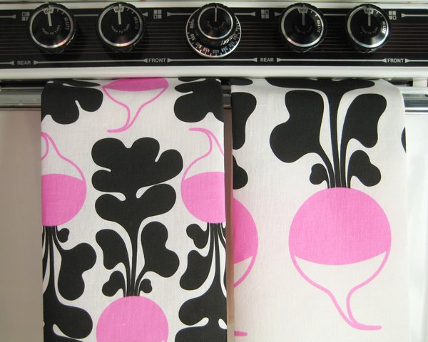 Set of two kitchen tea towels, radish pattern, by Lotta Kühlhorn, Available at fromSthlm.com