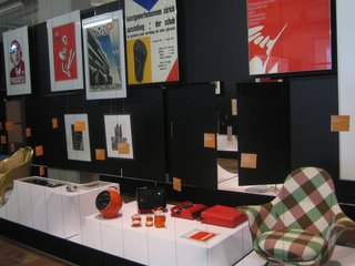 Assorted objects and posters from the Everything Design exhibit at Design Museum Zurich.