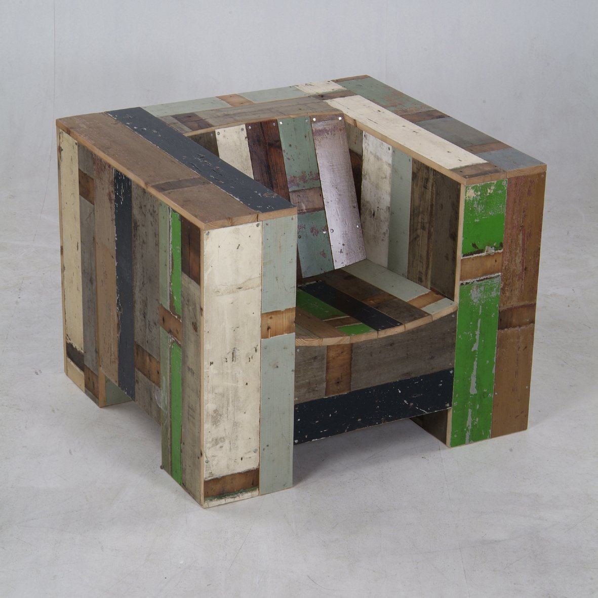 "The Enormous Armchair in scrapwood  Search ""joe colombo 4801 armchair"" from Piet Hein Eek"