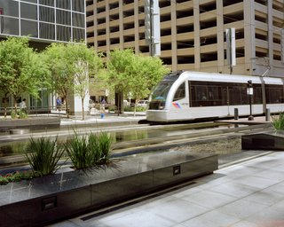 The recently completed METRO light rail connects downtown Houston to Rice University to the Reliant Astrodome and has increased access to Houston's urban core. Image courtesy of the Greater Houston Convention and Visitors Bureau.