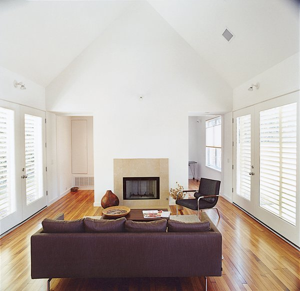 One of the home's most luxurious elements, old-growth pine and red oak flooring, was salvaged from local tear-downs.