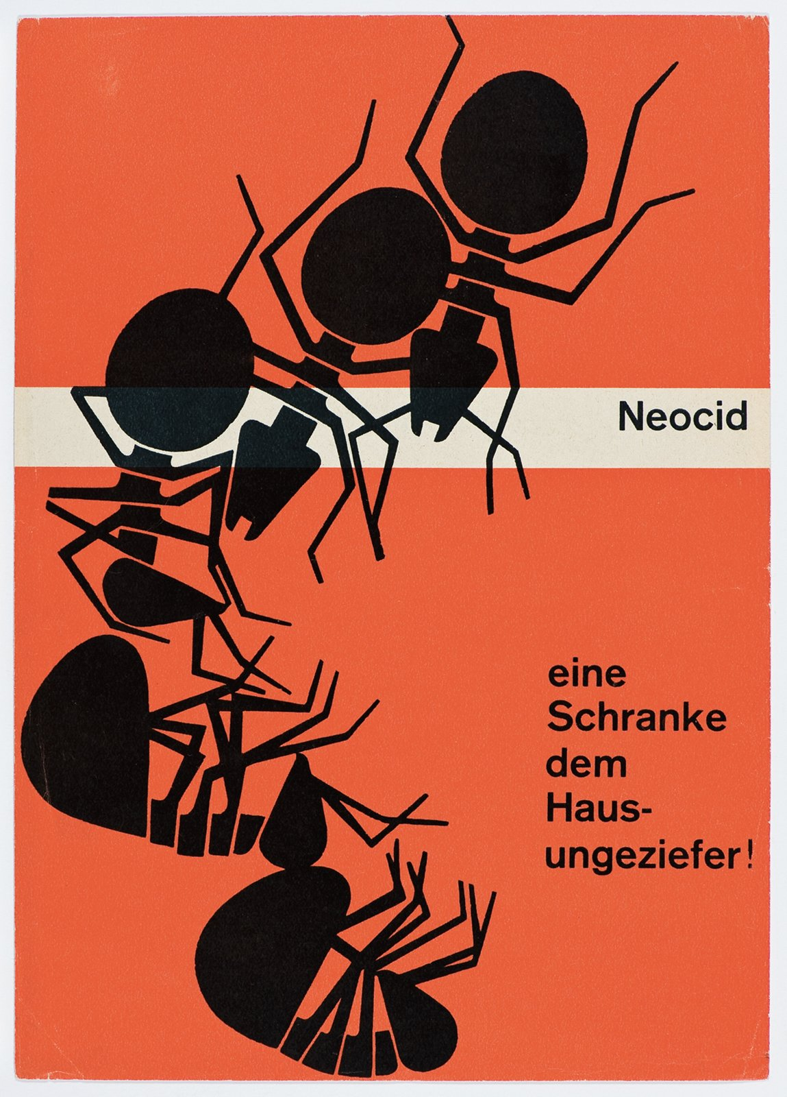 "Neocid was another pesticide Geigy sold. Karl Gerstner's poster is from 1953 and tells customers that Neocid is ""A gate for house pests!""  Geigy's Graphic Design  by Dwell from Geigy's Stellar Graphic Design"