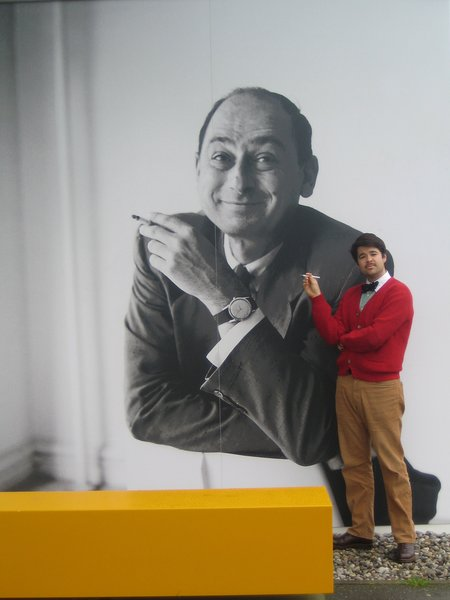 American design don George Nelson is the subject of the current exhibition at the Design Museum. I couldn't resist taking a photo with old George.  Touring the Vitra Campus  by Aaron Britt