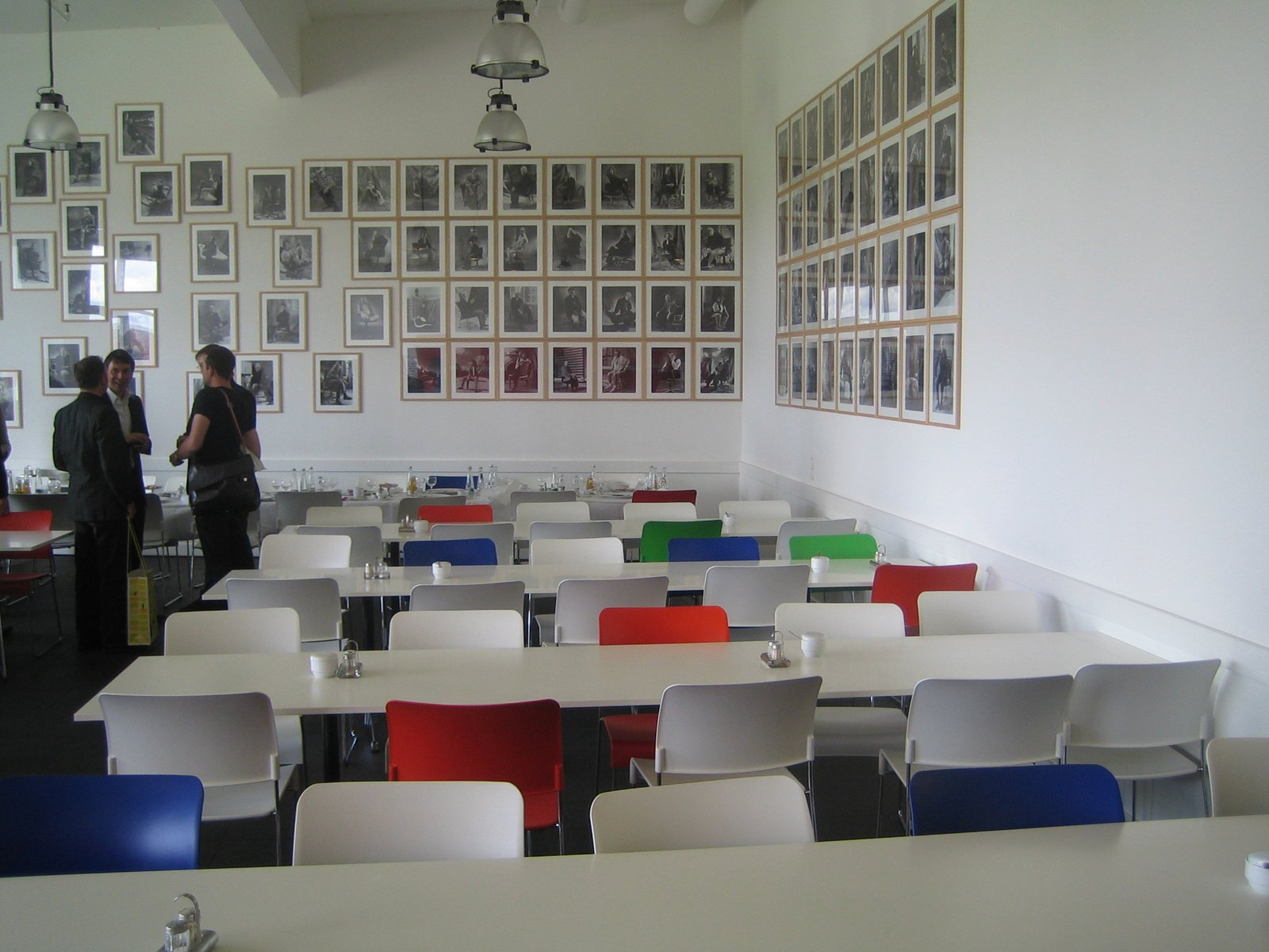 Lunch was very tasty at the cafeteria. I loved the mismatched chairs and wall of photos of celebs (like Miles Davis, Spike Lee and Ben Kingsley) in Vitra chairs.  Touring the Vitra Campus  by Aaron Britt