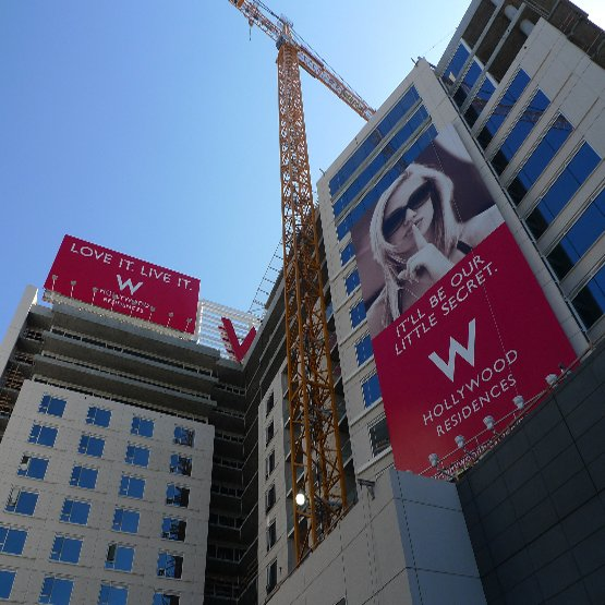 The view from Hollywood Boulevard entrance plaza, standing near the Metro station.  Photo 9 of 10 in The W Hollywood Residences
