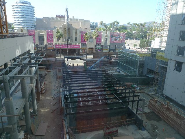 A view of the W Ciné plaza from the third floor. The Hollywood/Vine Metro station is being renovated under black steel girders.  Photo 1 of 10 in The W Hollywood Residences