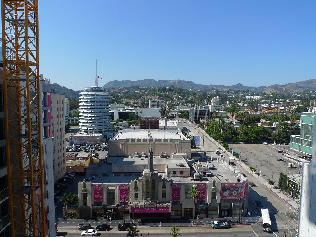 The north view from the 14th-floor unit. Capitol Records is to the left, and the Hollywood sign is at dead center.  Photo 3 of 10 in The W Hollywood Residences