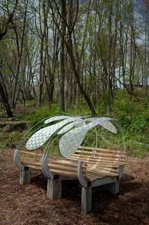 Firefly by Rashida Ng and Nami Yamamoto  This bedlike bench invites visitors to relax and enjoy the sky above.  Photo by Jack Ramsdale. Courtesy of  the Schuylkill Center for Environmental Education.