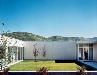 The landscaping appears to be based on the mullet principle: business in the front, as seen here (manicured grid lawn, with native vegetation sprouting in careful symmetry), party in the back (sunflowers and wild mountain grass growing in harmonious chaos).