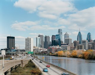 Philadelphia rises above the banks of the Schuylkill River.