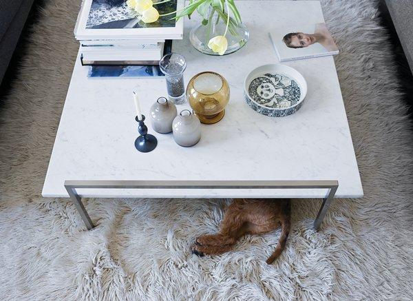 The Skinny coffee table (perfect for unauthorized doggy dining) by Prospero Rasulo for Zanotta is also a display board for Jeanette's growing collection of Stig Lindberg and Bjorn Wiinblad ceramics.