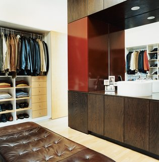 Even in a tiny space, Sebastian Mariscal was able to include a roomy walk-in closet. It creates order in a space that has a high potential for disaster.