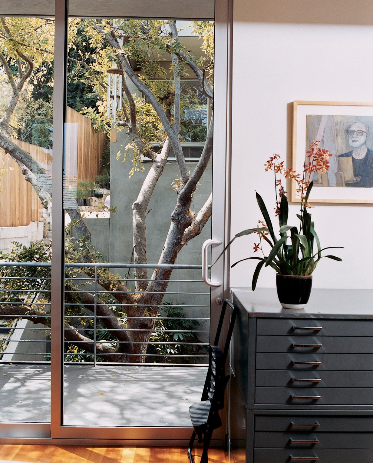 Doors, Sliding Door Type, and Metal There are balconies off nearly every room. The interior is built around a mature Chinese elm that once dominated the backyard of the front house.  Photo 7 of 13 in Two Houses Are Better Than One