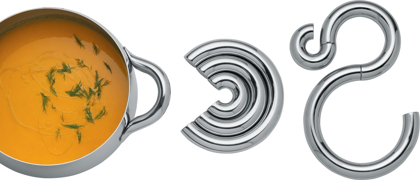 Try it Trivet, by Dror Benshetrit for Alessi.  This three-piece magnetic trivet can be rearranged to form different stainless steel shapes that will protect your table from a hot pot.  Photo 1 of 14 in Alessi's Fall/Winter Collection
