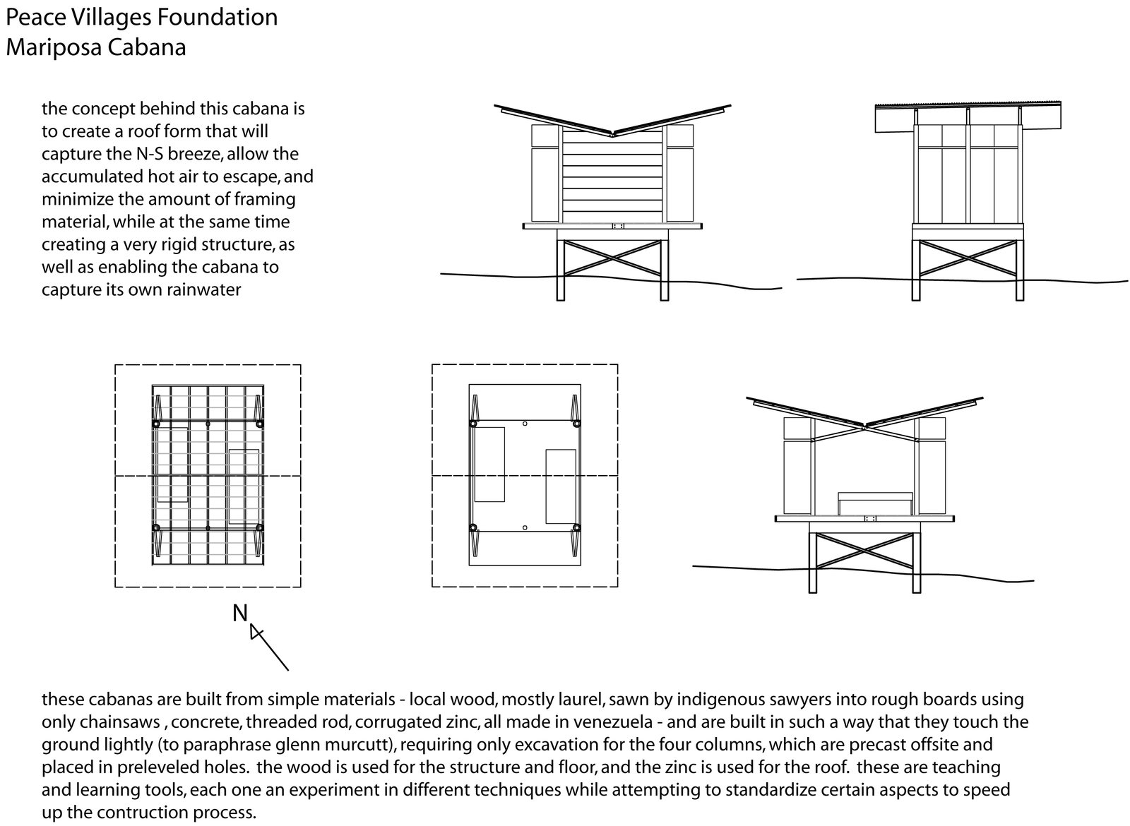 Nonn and Martin designed models that were simple and straightforward, with passive strategies for ventilation and cooling. These drawings can be used to build more shelters in the architects' absence.  Photo 6 of 13 in Venezuela's Eco Cabanas