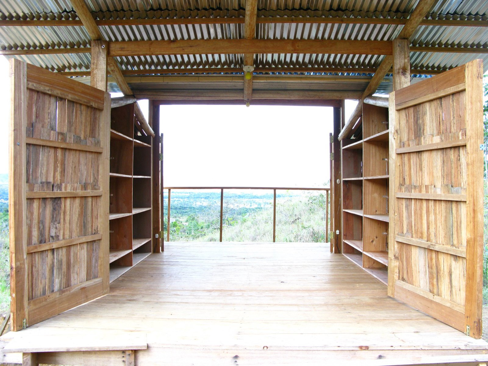 The interior of the cabana is relatively tight but with the sides open, the space feels breezy. Built-in shelving makes storage easier, leaving room for beds, chairs and tables.  Photo 4 of 13 in Venezuela's Eco Cabanas