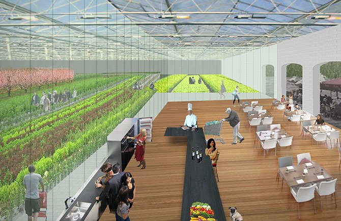 Got an empty big box store? This proposal suggests planting the parking lot and roof, turning the interior into a greenhouse, and enjoying hyper-local fresh produce.  Photo 4 of 12 in Is a Sustainable Suburbia Still Possible Post-Pandemic? from Reburbia Winners Announced!