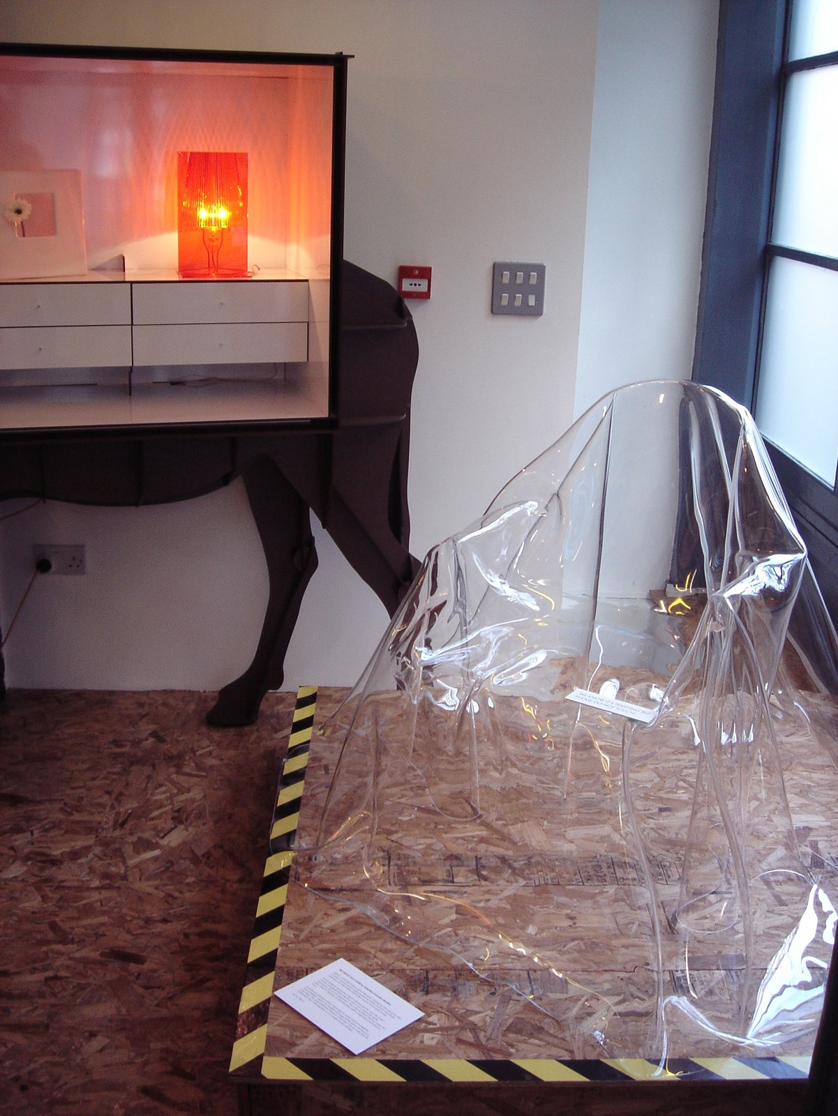 Valentina Gonzalez Wohlers draped transparent sheeting over the transparent Ghost Chair, making it even more ethereal.  Photo 7 of 15 in Live from London: Lifestylebazaar