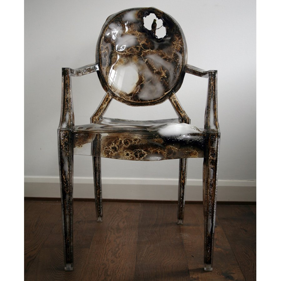 Kelly McCallum's burned chair, animated with a hummingbird.  Photo 8 of 15 in Live from London: Lifestylebazaar