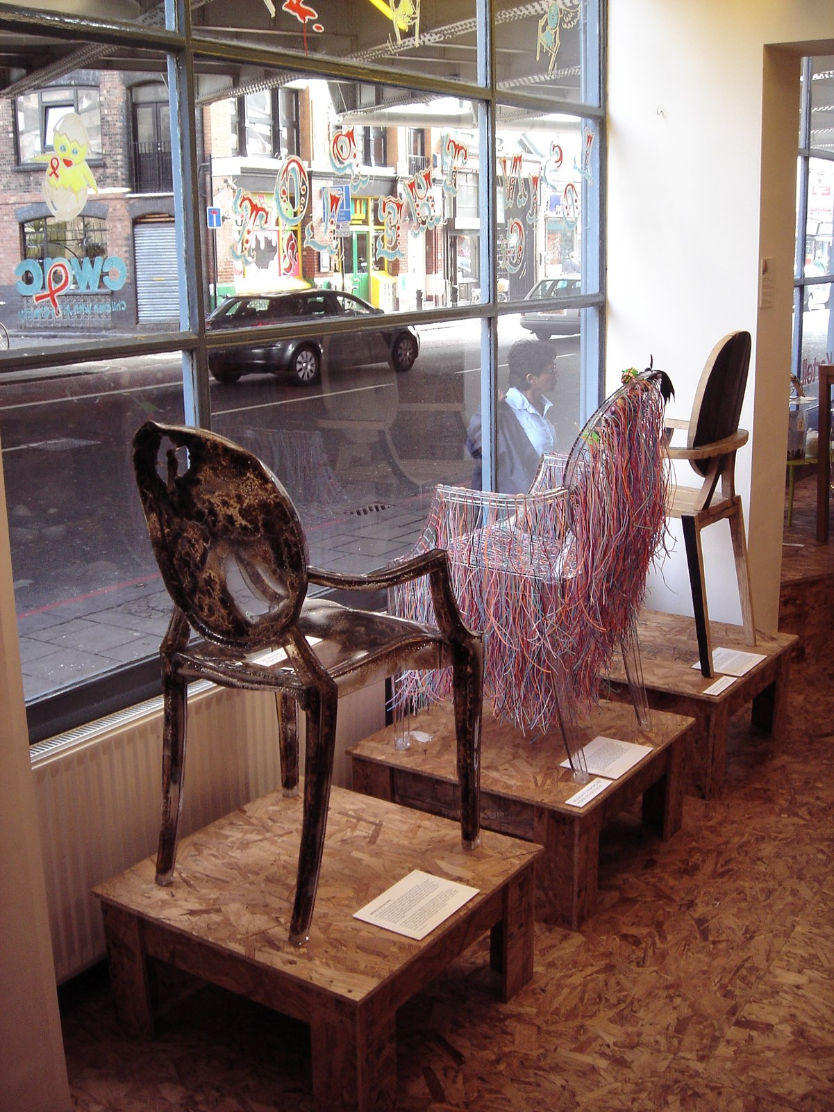 A trio of chairs on display in the window.  Photo 15 of 15 in Live from London: Lifestylebazaar
