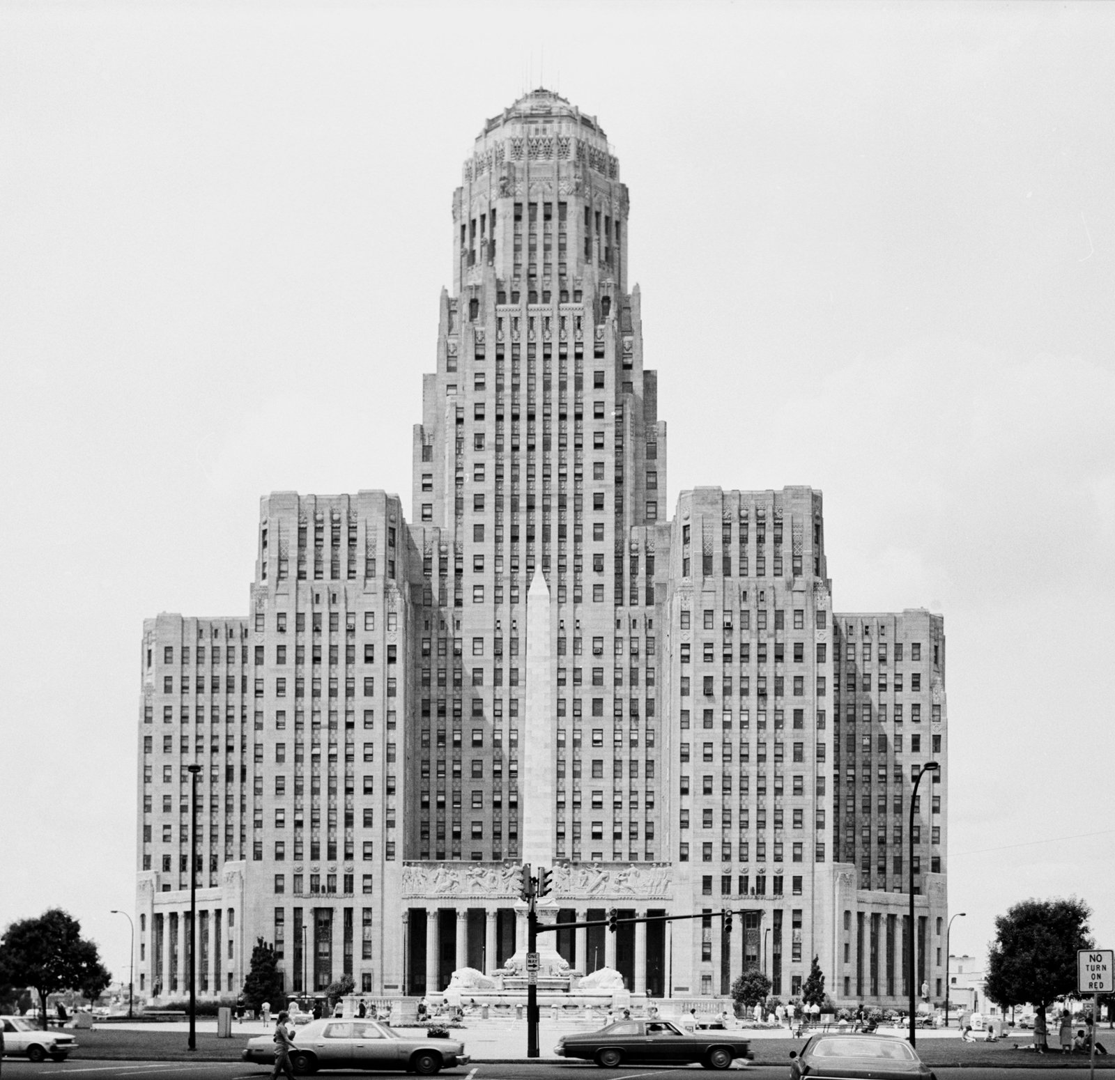 """East elevation of Buffalo City Hall, circa 1981. Image courtesy the United States Library of Congress' Prints and Photographs Division.  Search """"stockholm elevations architectural print"""" from Buffalo, New York"""