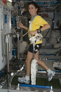 NASA astronaut Nicole Stott, Expedition 21 flight engineer, equipped with a bungee harness, exercises on the Combined Operational Load Bearing External Resistance Treadmill (COLBERT) in the Harmony node of the ISS. Photo taken October 20, 2009.   Courtesy of NASA