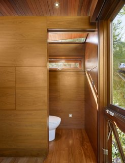 The treehouse serves also as temporary guest quarters, with modern-day amenities like a daybed, a sink, a toilet, a small refrigerator, a fireplace and a microwave.