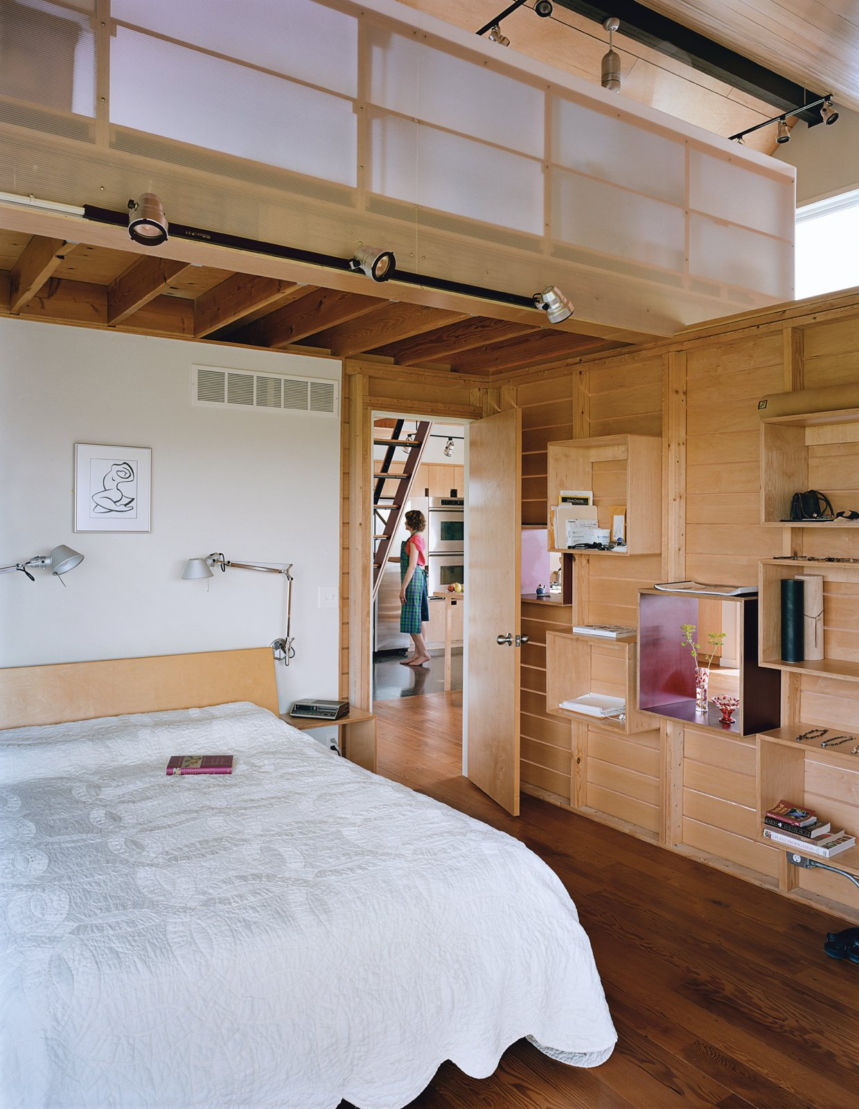 Bedroom, Storage, Shelves, and Bed The slatted wall that divides the sleeping and living quarters has maple-ply boxed shelves that can be rearranged.  Photo 2 of 10 in Farm Fresh