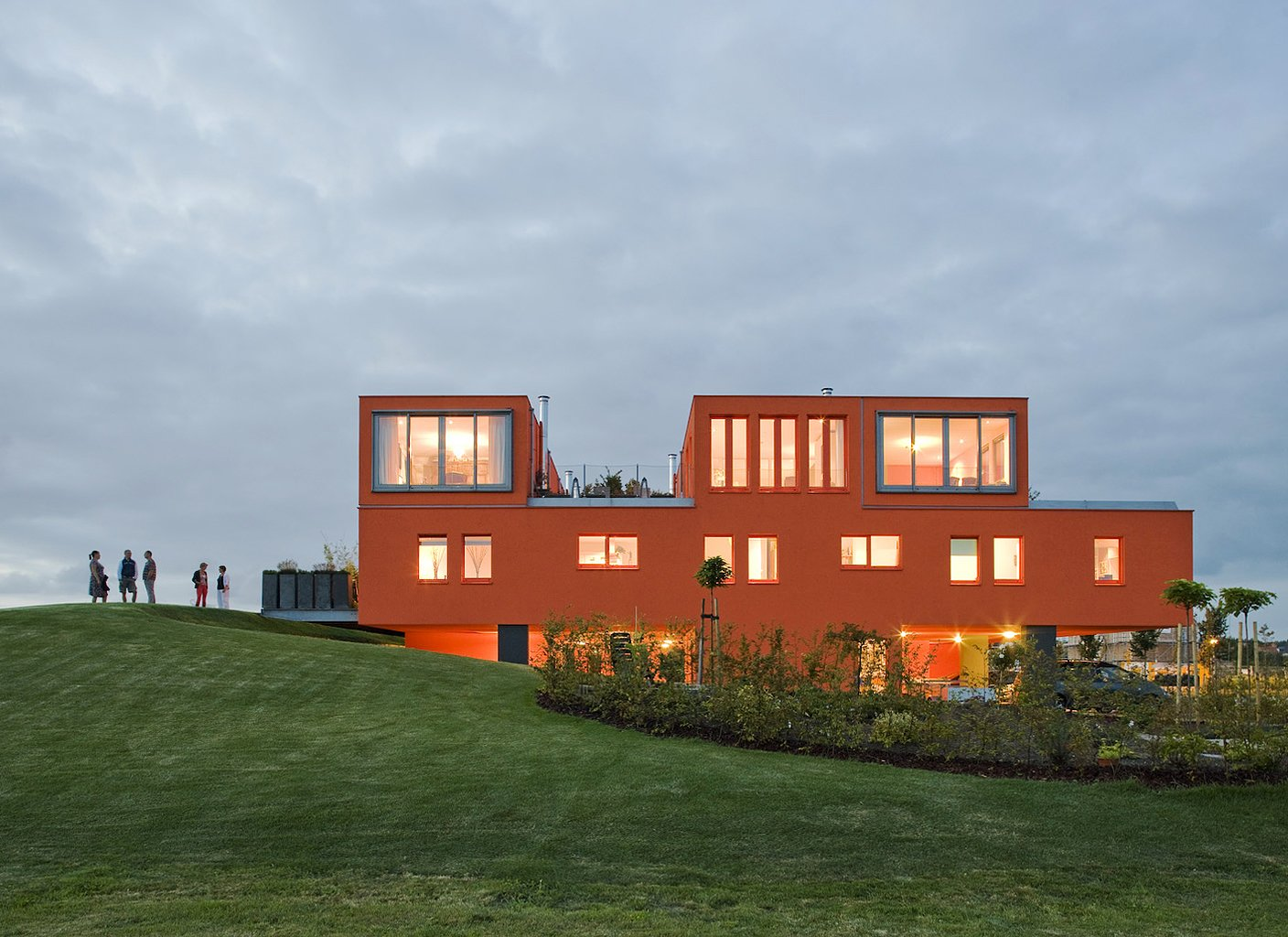 Exterior and House Building Type Villa Van Vijven cuts a truly remarkable figure, a striking orange figure on the otherwise flat green landscape.  16 Funky Facades by Andrea Smith from Modern Communal Living in the Netherlands